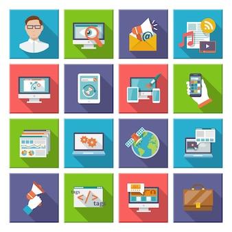 Seo marketing internetowy ikona płaski