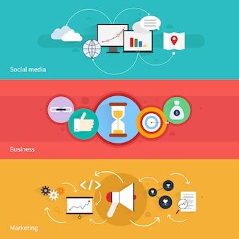 Seo marketing poziomy baner z mediów społecznościowych biznesu na białym tle ilustracji wektorowych