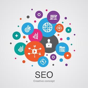 Seo modny koncepcja projektowania bańki interfejsu użytkownika z prostymi ikonami. zawiera takie elementy jak wyszukiwarka, docelowe słowa kluczowe, analityka internetowa, monitorowanie seo i inne