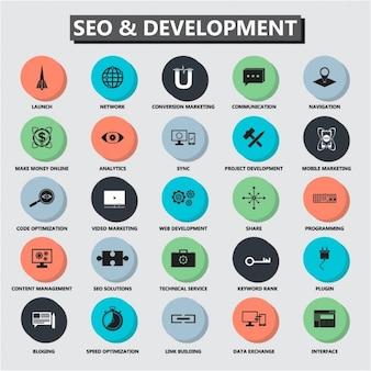 Seo rozwój ikona banner set