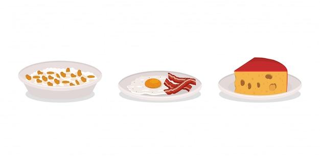 Ser jajeczny śniadanie i bekon projekt, jedzenie posiłek świeży produkt naturalna premia rynkowa i gotowanie tematu ilustracji wektorowych