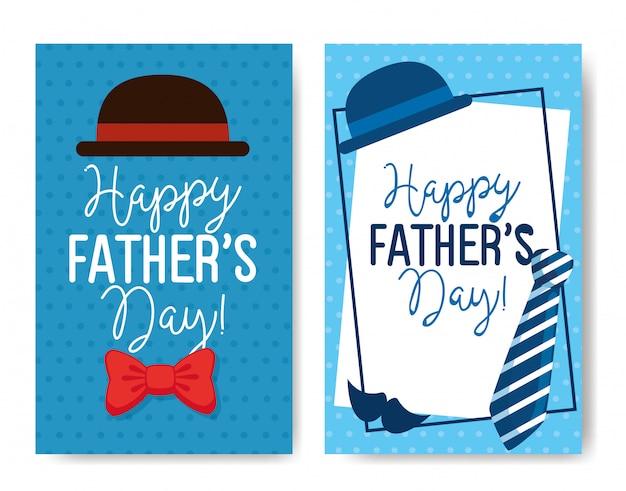 Ser karty szczęśliwego dnia ojca z dekoracją