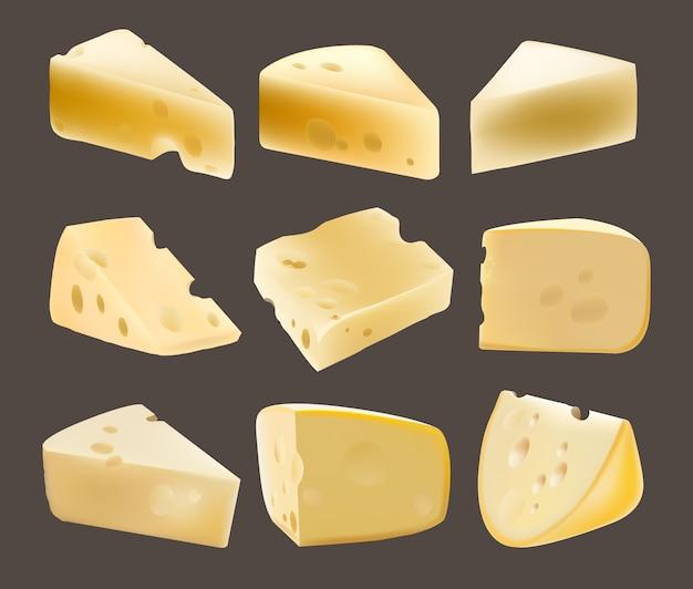 Ser w kawałkach. nabiał. realistyczna ilustracja. dziury. holenderski. parmezan. różne rodzaje serów. jedzenie. gouda. zdrowe jedzenie