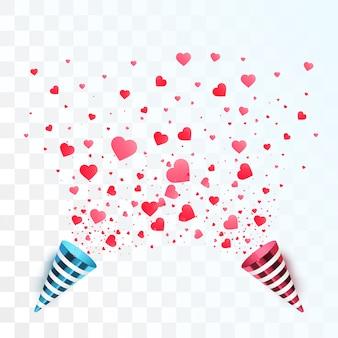 Serca konfetti pęknięcie na białym tle. koncepcja walentynki. kształty serca z imprezowymi poppersami. wektor