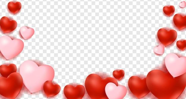 Serca na białym tle na przezroczystym tle, dekoracje na walentynki