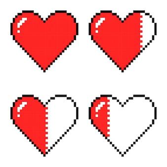 Serca pixel art do gry, różne wskaźniki zdrowia gry