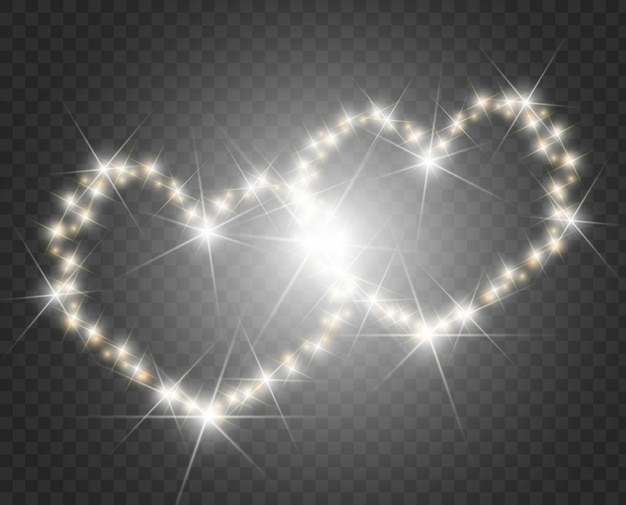 Serca światła i rozmycie. miłość serce tło. świetliste serce.