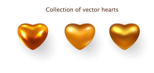 Serca w kolorze złota