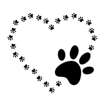 Serca z łapami psów i kotów łapy odciski psa miłość psy