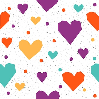 Serce bezszwowe tło wzór. streszczenie dziecinne fioletowe, zielone, żółte, pomarańczowe serce na projekt koszulki, kartki ślubnej, zaproszenia ślubnego, plakatu walentynkowego, broszur, albumu, albumu itp.