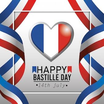 Serce francji godło z flagą wstążki dekoracji