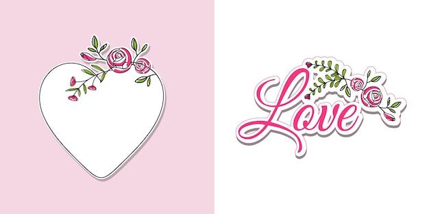 Serce i miłość ikony z dekoracją kwiatową