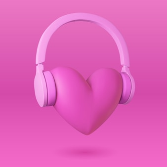 Serce i słuchawki. ilustracja miłości do muzyki