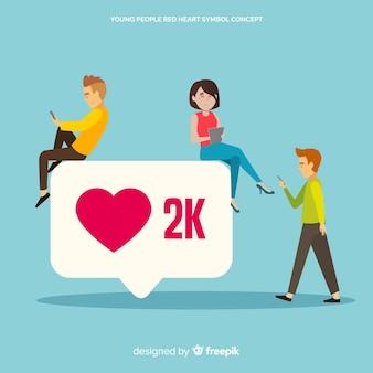 Serce instagram. nastolatki w mediach społecznościowych. projektowanie postaci.