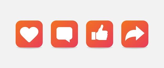 Serce, komentarz, kciuk w górę i repost symbole. gradientowe ikony mediów społecznościowych na białym tle. wektor eps10