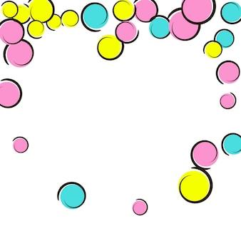 Serce kropki rama z tłem konfetti pop-artu. duże kolorowe plamy, spirale i koła na białym tle. ilustracja wektorowa. rainbow dzieci rozpryski na przyjęcie urodzinowe. rama kropki serca tęczy.