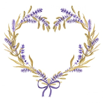 Serce kwiat lawendy z wstążką akwarela