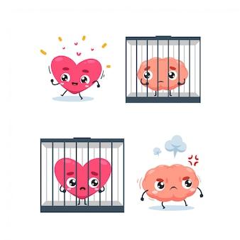 Serce, mózg i więzienie. ilustracja na białym tle