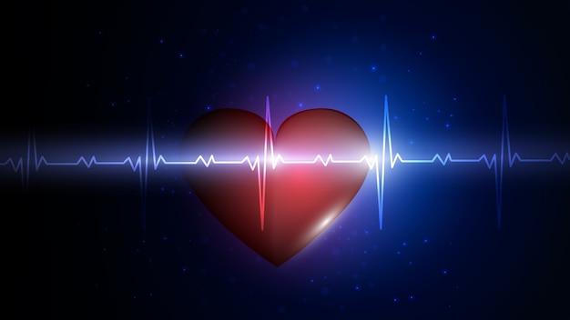 Serce na tle grafiki tętna