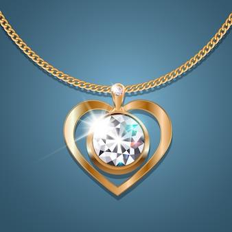 Serce naszyjnika z błyszczącym diamentem na złotym łańcuszku