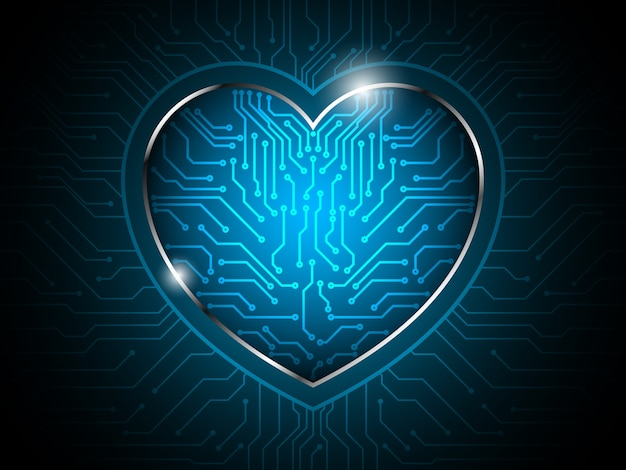 Serce obwód streszczenie technologia tło