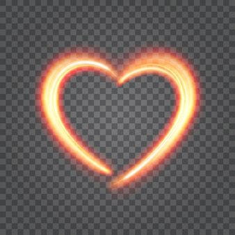 Serce od światło ogienia odizolowywającego na przezroczystości ilustraci