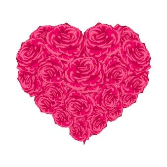 Serce pączek róży na białym.