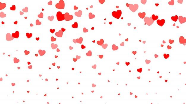 Serce półtonów walentynki tło. czerwone serca na białym tle