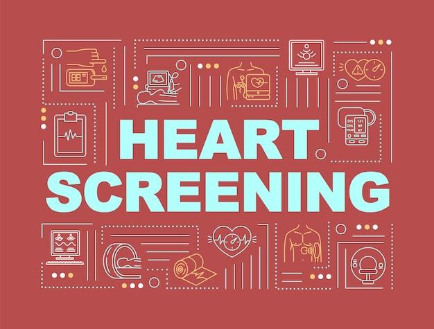 Serce przesiewowe słowo pojęć transparent. badania lekarskie. kontrola tętna i ciśnienia krwi. infografiki z liniowymi ikonami na czerwonym tle. typografia na białym tle. ilustracja wektorowa konturu rgb