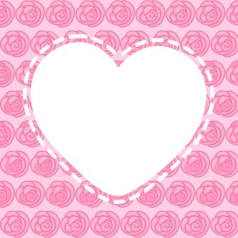 Serce puste ramki z pięknymi różowymi kwiatami, grafiki wektorowej