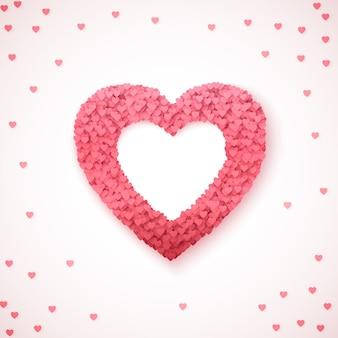 Serce - symbol miłości. spadające serca tworzą kształt serca. romantyczny szablon tło walentynki. ilustracja