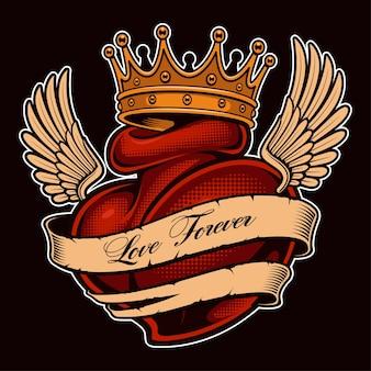 Serce tatuaż ze skrzydłami w koronie. tatuaż chicano, projekt graficzny na koszulki. wszystkie elementy, tekst, kolory są na osobnych warstwach. (wersja kolorowa)