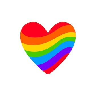 Serce tęczy lgbt. parada gejów. symbol wektora lgbtq na białym tle na białym tle.