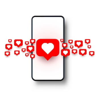 Serce telefonu jak sieć społecznościowa. białe tło. ilustracja wektorowa