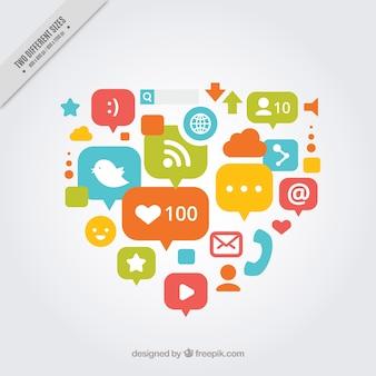 Serce tła z ikonami portali społecznościowych