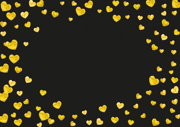 Serce tło ramki z brokatem złote serca.