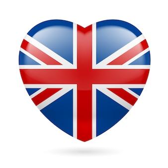 Serce w kolorach flagi brytyjskiej. kocham wielką brytanię
