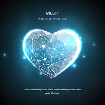 Serce w stylu low poly wireframe mesh. streszczenie na niebieskim tle. koncepcja miłość lub technologia. linie splotu i punkty w konstelacji. cząsteczki są połączone w geometryczny kształt. gwiaździste niebo.