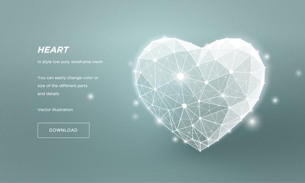 Serce w stylu low poly wireframe mesh. streszczenie na niebieskim tle. pojęcie miłość lub medycyna lub opieka zdrowotna. linie splotu i punkty w konstelacji. cząsteczki są połączone w geometryczny kształt.