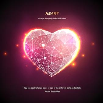 Serce w stylu low poly wireframe mesh. streszczenie na różowym tle. koncepcja miłość lub technologia. linie splotu i punkty w konstelacji. cząsteczki są połączone w geometryczny kształt. gwiaździste niebo.