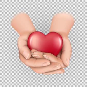 Serce w złożonych dłoniach ilustracja