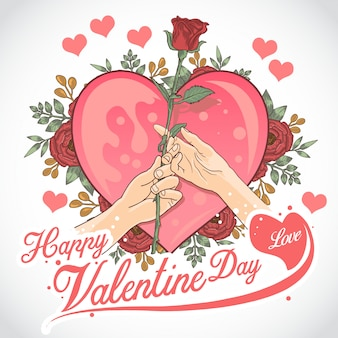 Serce walentowe i róża