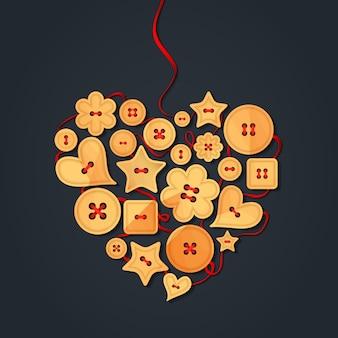 Serce wyłożone drewnianymi guzikami, szyte czerwoną wstążką. kreatywnie kartka z pozdrowieniami szczęśliwy walentynka dzień