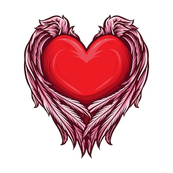 Serce z anielskimi skrzydłami wektorowymi