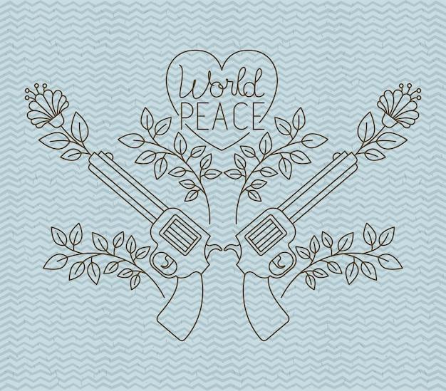 Serce z broni pokoju wiadomość wektor ilustracja projektu