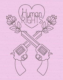 Serce z bronią skrzyżowane wiadomość o prawach człowieka