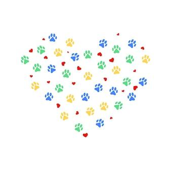 Serce z kolorowymi nadrukami zwierzęcych łap i wieloma serduszkami. ilustracja wektorowa.
