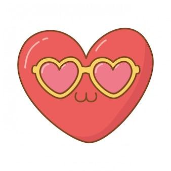 Serce z okularami przeciwsłonecznymi