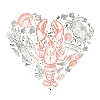 Serce z owocami morza