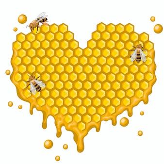 Serce z plastrów miodu z pszczołami. na białym tle.